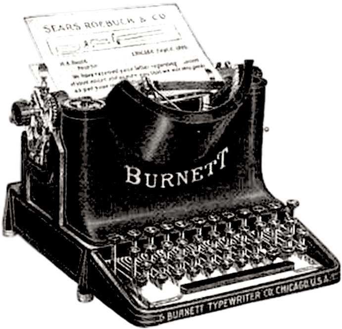 Burnett Typewriter from advertisement