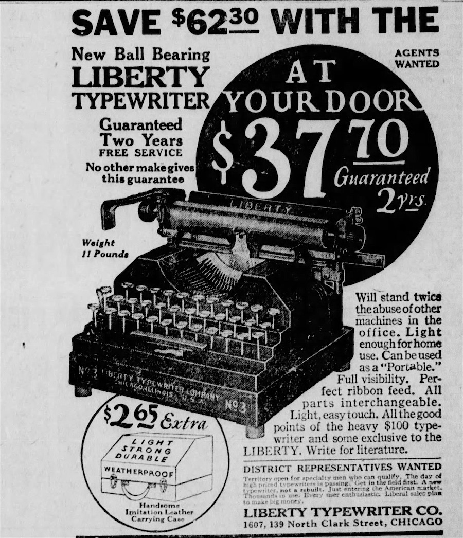 No longer a Molle, now a Liberty. Collectors will be interested to know that Liberties were being sold as late as 1926! From the Dixon Evening Telegraph, Dixon, Illinois, May 24, 1926.