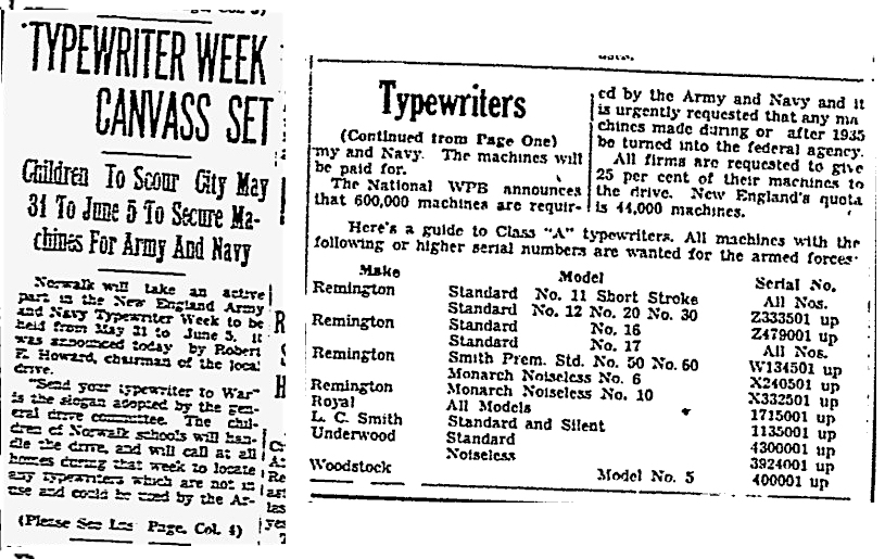 From the Norwalk Hour, May 26, 1943, front page and continuation on back page.