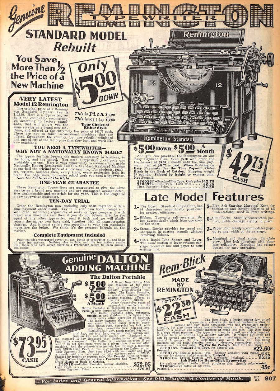 Sears catalog (Fall 1929).
