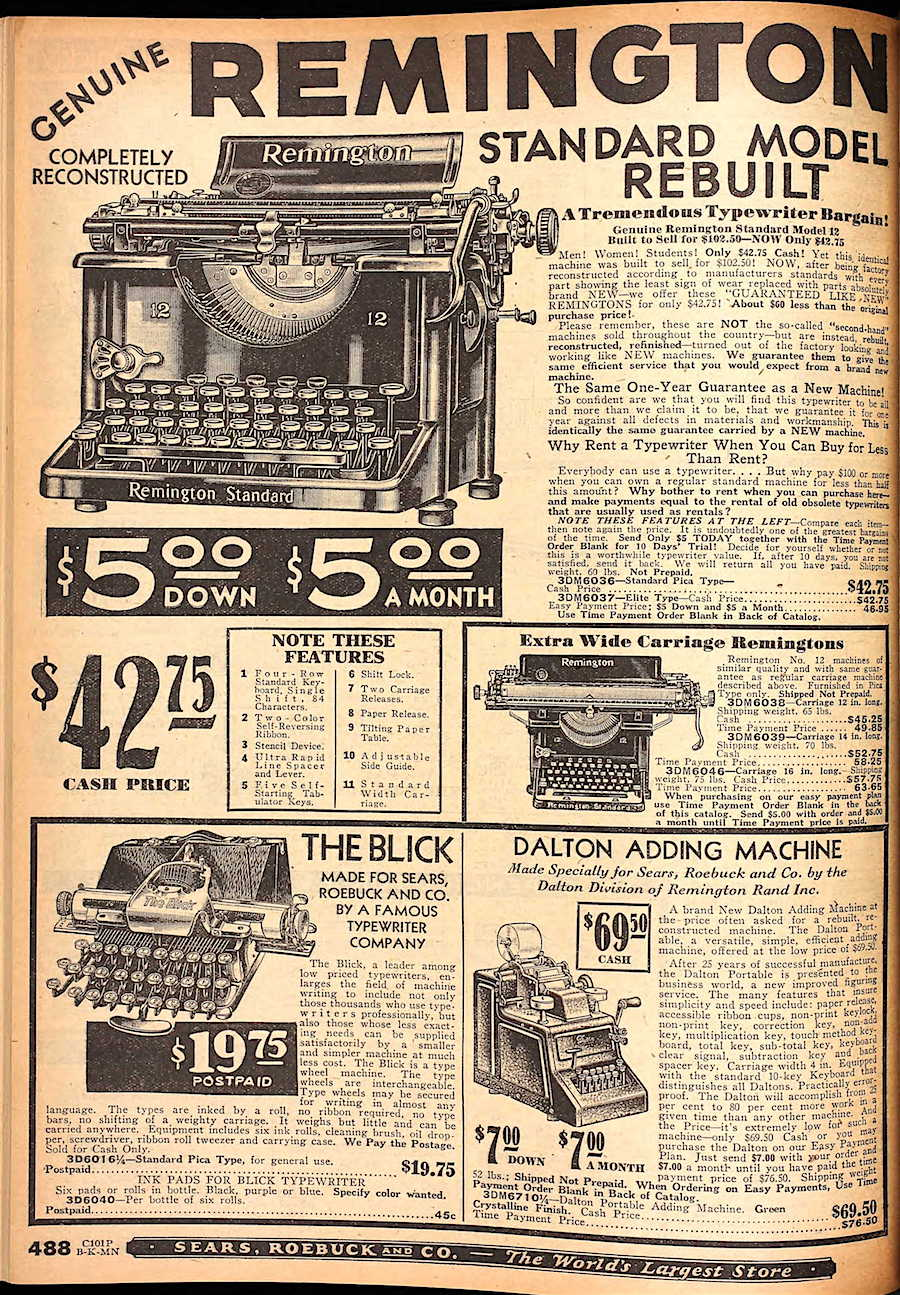 Sears catalog (Fall 1930).