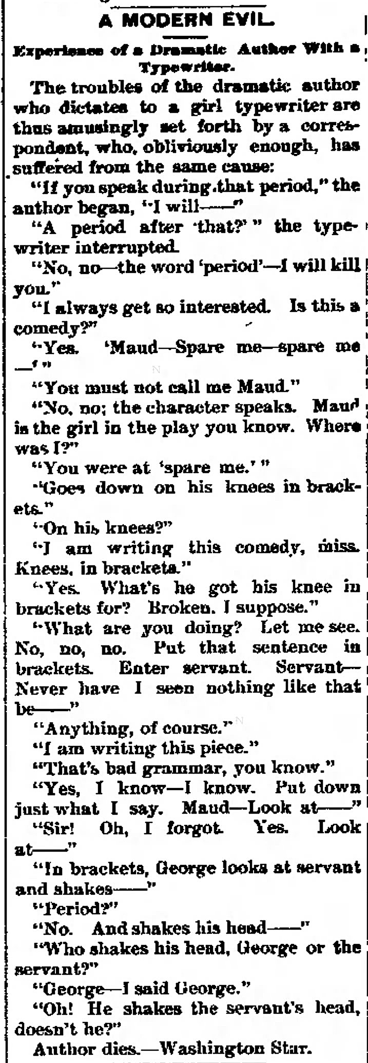 Wickedly funny. From the Daily Citizen (Iowa City, Iowa), June 21, 1892.