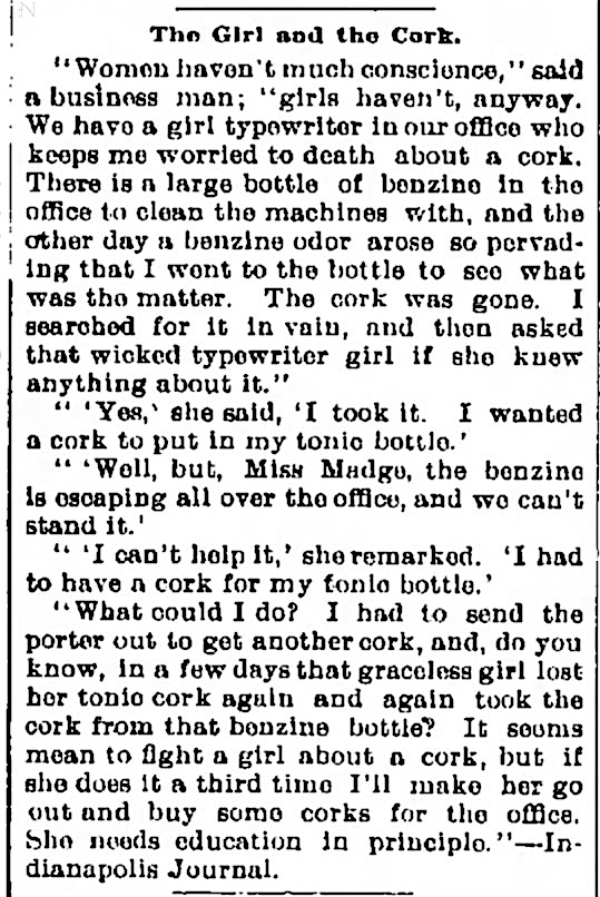 Put a cork in it! From The Daily Times (New Brunswick, New Jersey), May 25, 1896.
