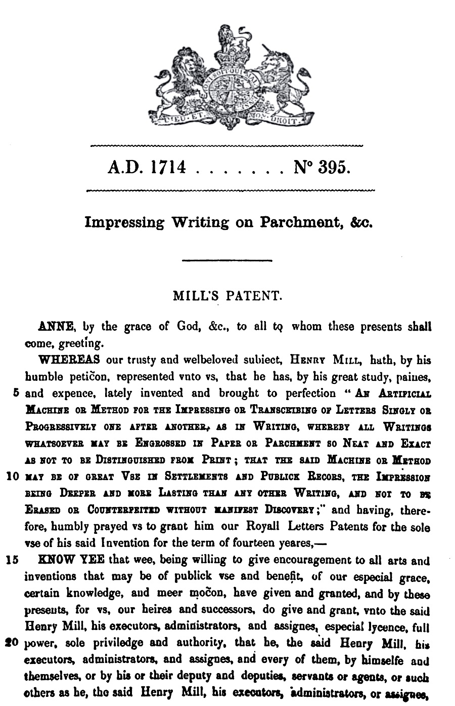 """henry mill's patent for """"impressing writing on parchment"""""""